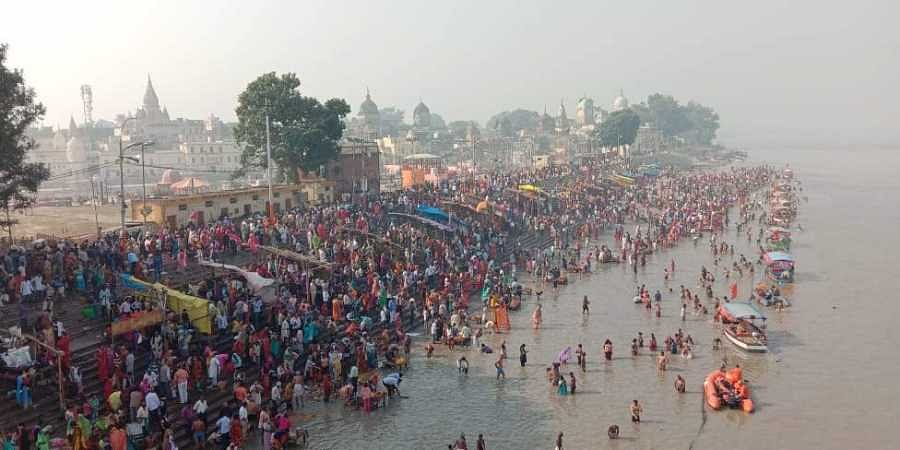 An unprecedented congregation of over five lakh devotees had started swarming the temple town of Ayodhya since Monday evening for the holy dip.