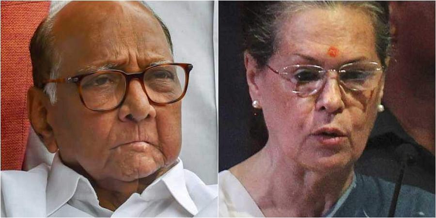 NCP chief Sharad Pawar (L) and Congress president Sonia Gandhi. (File | PTI)