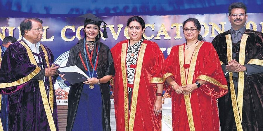 Union Minister Smriti Irani and dignitaries from Vellore Institute of Technology in Chennai on Tuesday