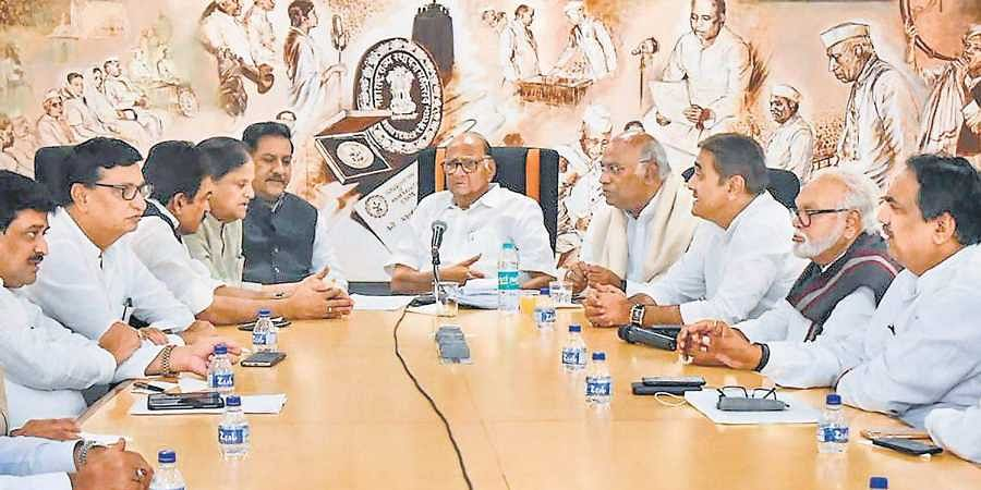 Congress and Nationalist Congress Party leaders during a meeting to discuss Shiv Sena's proposal on government formation, in Mumbai.