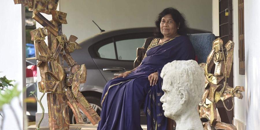 Anila Jacob with her sculptures