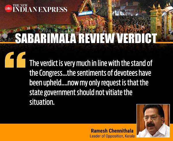Sabarimala Review Verdict: Ramesh Chennithala Quote
