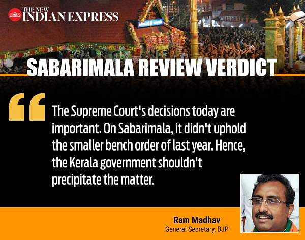 Sabarimala Review Verdict: Ram Madhav