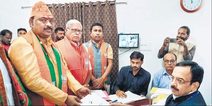 BJP candidate S B Mehta filing his nomination papers from Panki constituency in Palamu, Jharkhand, on Wednesday. | (File | PTI)