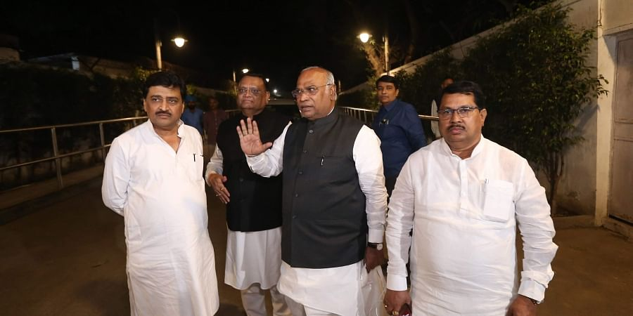 Senior Congress leader Mallikarjun Kharge with partys Maharashtra unit leaders Ashok Chavan and Vijay Wadettiwar after a meeting with the party President Sonia Gandhi at 10 Janpath in New Delhi Monday. | (Photo | Arun Kumar P/EPS)