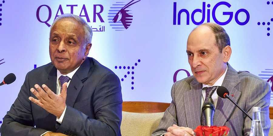 IndiGo CEO Ronojoy Dutta (left) with Qatar Airways' CEO Akbar Al Bake during a business announcement of one-way codeshare agreement between the two airlines in New Delhi Thursday.