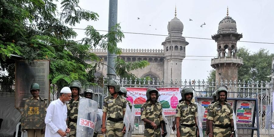 Police force has been deployed around Mecca Masjid areas in Hyderabad. (Photo | EPS/ S Senbagapandiyan)
