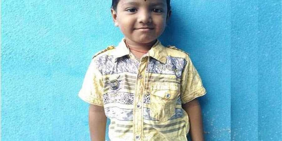 Purushotham Reddy (4), who was studying UKG, fell into the vessel on Wednesday while playing with his friends.