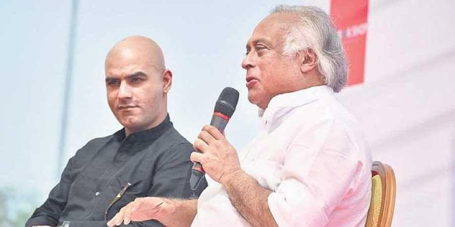 Journalist Athar Khan and Jairam Ramesh at a previous edition of NILF.