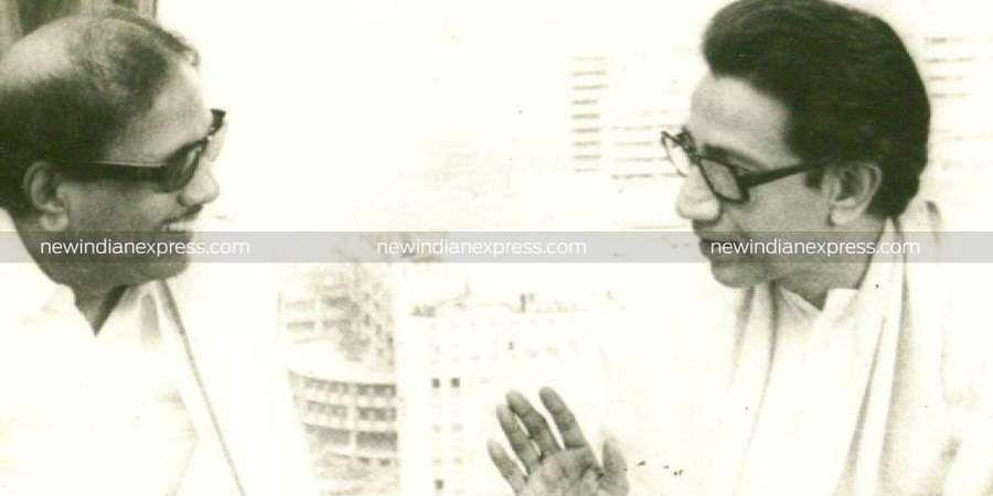 Then Shiv Sena chief Bal Thackeray with DMK president and Tamil Nadu CM Karunanidhi.