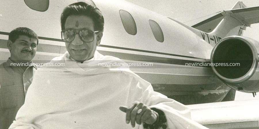 Then Shiv Sena chief Bal Thackeray at the airport.