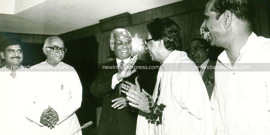 Then Shiv Sena chief Bal Thackeray with political leaders.