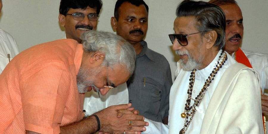 Then Shiv Sena chief Bal Thackeray being greeted by Gujarat CM Narendra Modi at Matoshree.