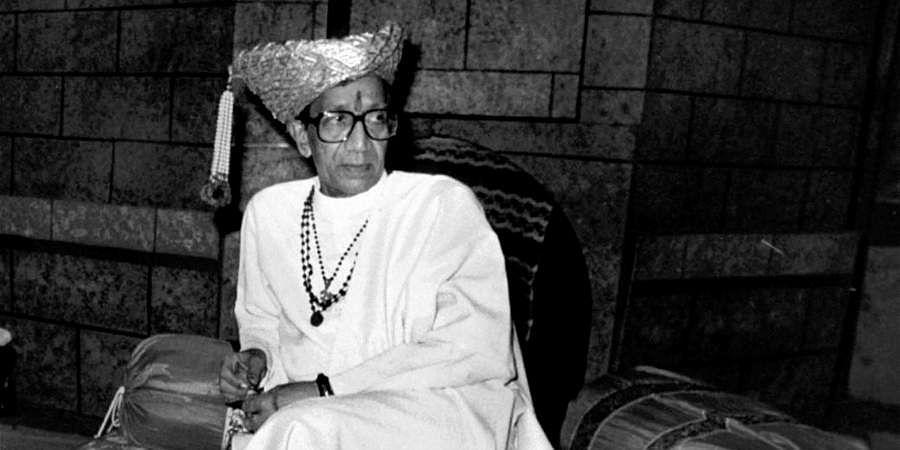 Then Shiv Sena chief Bal Thackeray etting ready to enact a scene from the play 'Janata Rajaa' on the life of Shivaji the great Maratha Warrior.