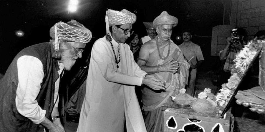 Then Shiv Sena chief Bal Thackeray getting ready to enact a scene from the play 'Janata Rajaa' on the life of Shivaji the great Maratha Warrior.