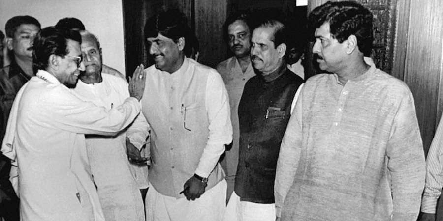Then Shiv Sena chief Bal Thackeray with BJP leaders Pramod Mahajan, Manohar Joshi and Gopinath Munde during a BJP-Sena meeting.