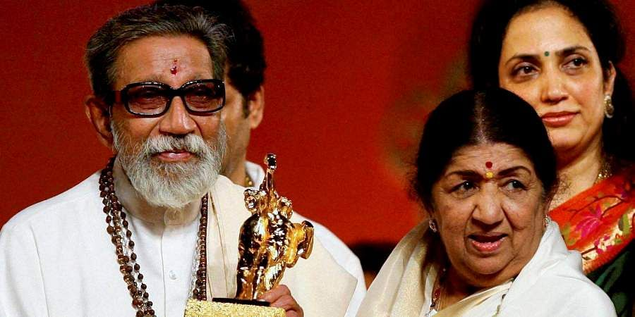 Then Shiv Sena chief Bal Thackeray honoring Bollywood singer Lata Mangeshkar during the Maharashtra Day celebrations.