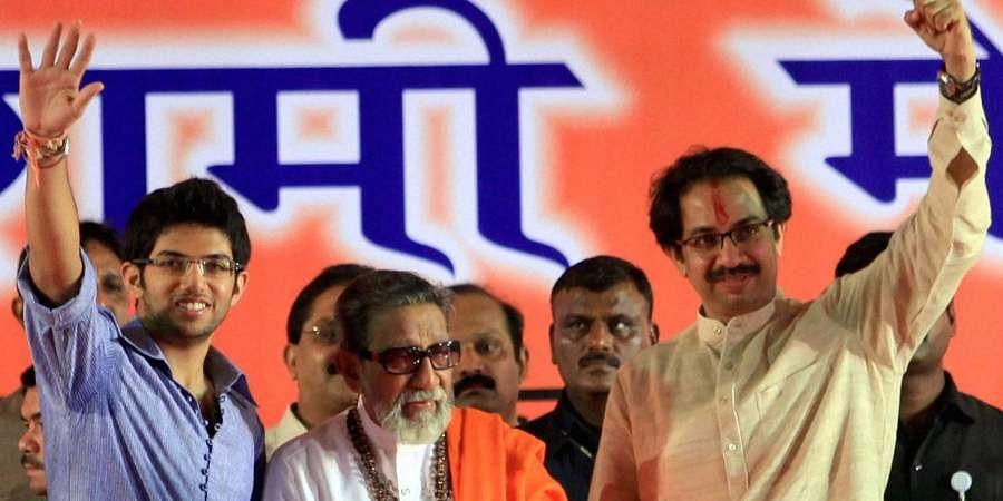 Then Shiv Sena chief Bal Thackeray along with his son, Shiv Sena executive president Uddhav Thackeray and grandson, Yuva Sena President Aditya Thackeray during the party's Dusshera rally.