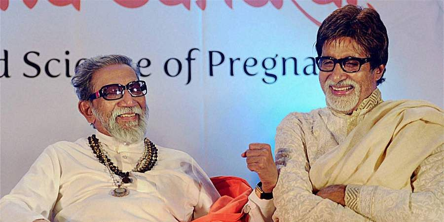 Then Shiv Sena chief Bal Thackeray along with Bollywood actor Amitabh Bachchan during a book launch.