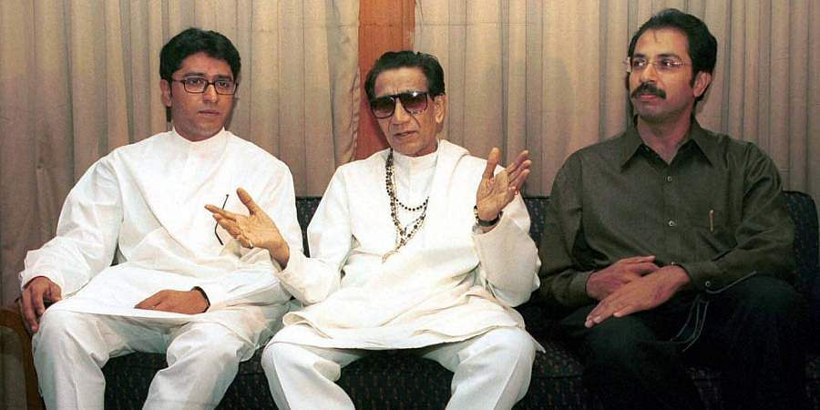 Then Shiv Sena chief Bal Thackeray is flanked by his son and Shiv Sena executive president Uddhav Thackeray and nephew, MNS chief Raj Thackeray during a press conference.