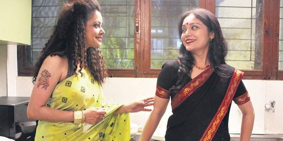 Neetali Das, who plays Jumi, and Lima Das in traditional Assamese Pat Silk Mekhela Sadors