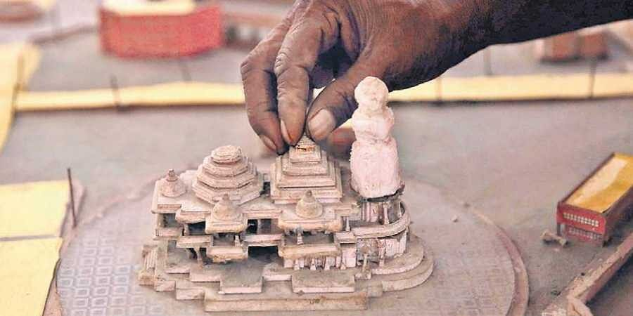 A model of Ram Mandir kept at Kar Sevakpuram in Ayodhya.