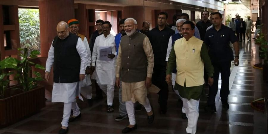 Prime minister Narendra Modi, Home minister Amit Shah and others leaders leave after the All Party meeting called by parliamentary Affairs minister at Parliament house in New Delhi
