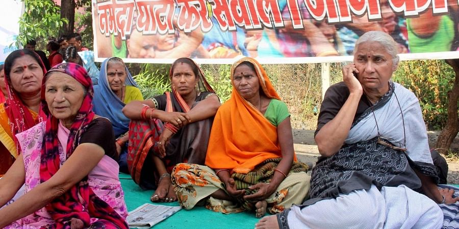 Social activist Medha Patkar along with villagers and dam oustees of Sardar Sarovar dam from Nimad region of Madhya Pradesh protests on the second consecutive day in front of Narmada Valley Development Authority office in Bhopal Sunday Nov. 17 2019.   (Ph
