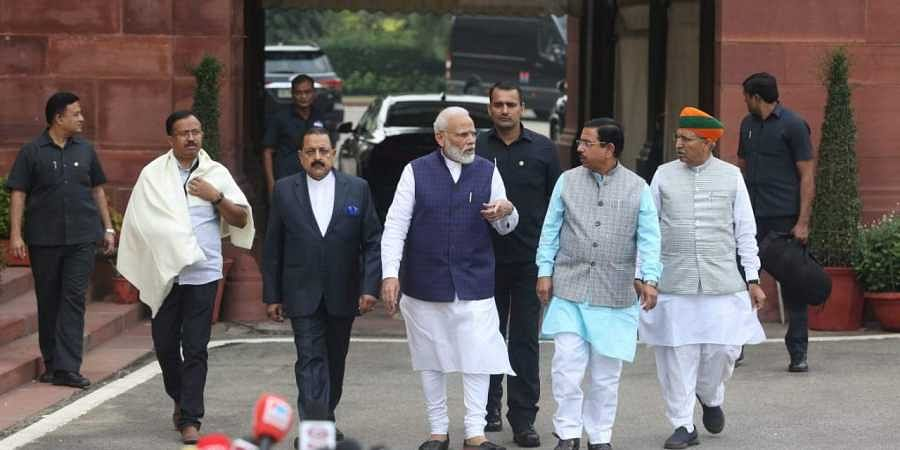 Prime Minister Narendra Modi arrives at Parliament House on the first day of Winter session in New Delhi on Monday.   (Photo   Shekhar Yadav/EPS)