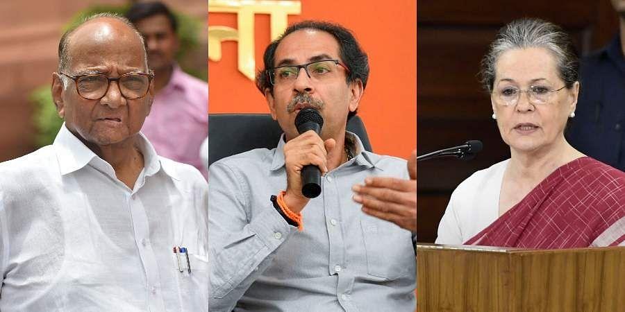 NCP chief Sharad Pawar, Shiv Sena chief Uddhav Thackeray and Congress interim chief Sonia Gandhi