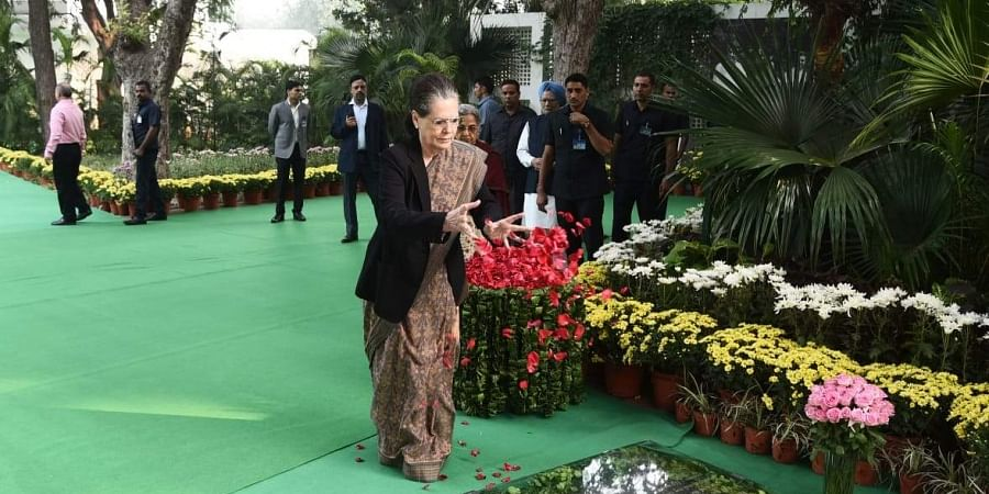 Congress President Sonia Gandhi pays tribute to former Prime Minister Indira Gandhi on her 102nd birth anniversary  at the Indira Gandhi Memorial Museum, on November 19, 2019 in New Delhi. | (Photo | Parveen Negi/EPS)