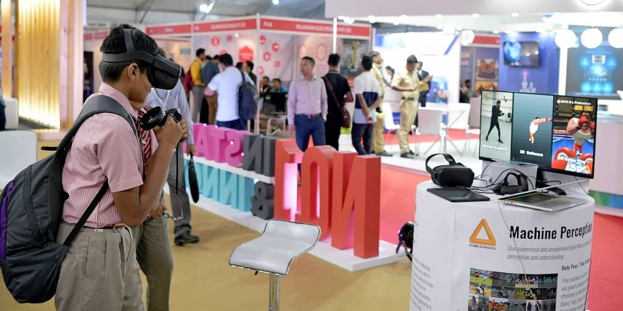 Virtual reality stalls are a major attraction at the summit this year