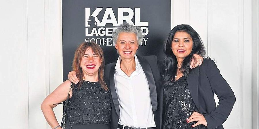 Caroline Lebar and Maggie Priori of Karl Lagerfeld with Manjula Tiwari of Cover Story.