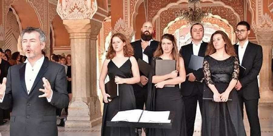 Paris National Opera Children's choir perform at the at the City Palace in Jaipur
