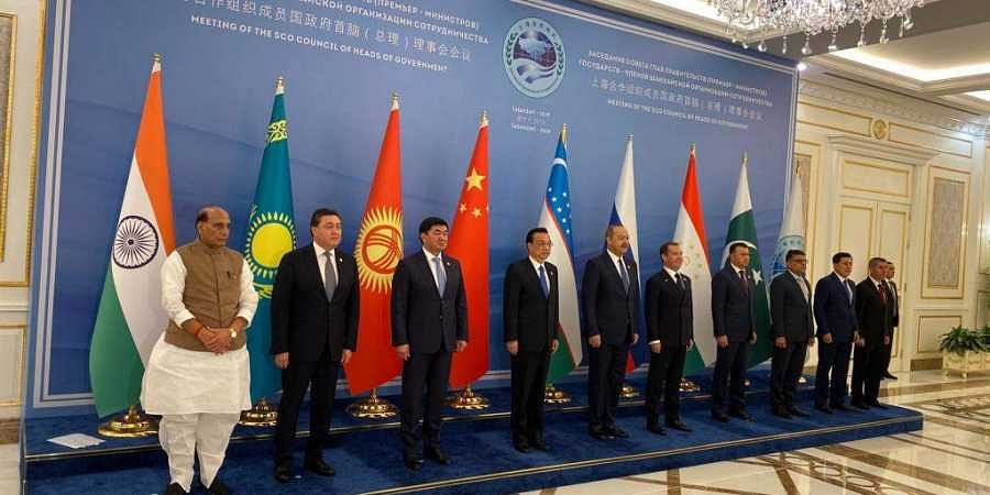 Union defence minister Rajnath Singh with heads of Governement of SCO at Tashkent, Uzbekistan.
