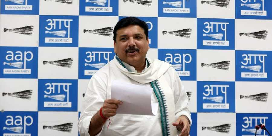 AAP MP Sanjay Singh during a press conference at party HQ in New Delhi on Friday.