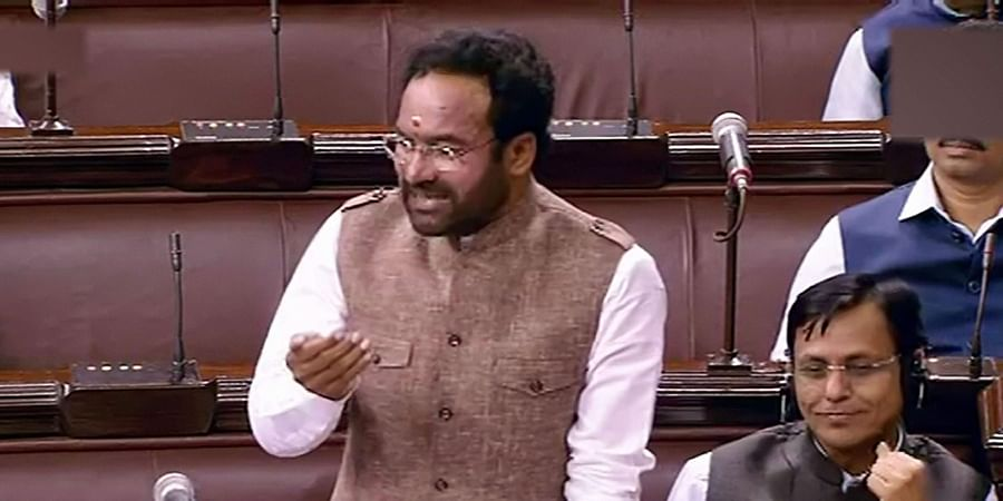 Union Minister of Sate for Home G Kishan Reddy speaks in the Rajya Sabha during the ongoing Winter Session of Parliament in New Delhi Wednesday Nov. 20 2019.