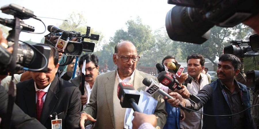 NCP chief Sharad Pawar arrives at Parliament house during the ongoing Winter Session in New Delhi on Wednesday. | (Photo | Shekhar Yadav/EPS)