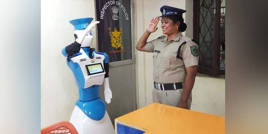 First of its kind Robot CYBIRA cyber security interactive robotic agent to receive complaints launched as a pilot project at Maharanipeta police station limits in Visakhapatnam