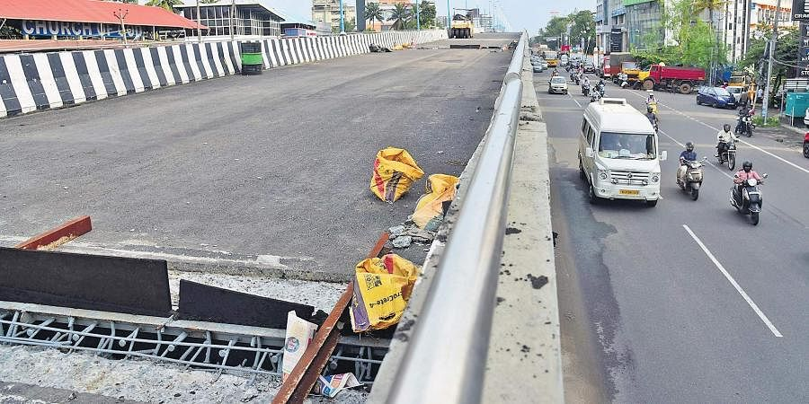 The Palarivattom flyover which has been closed for traffic