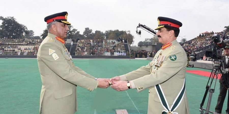 (Left) Pakistan Army Chief Qamar Javed Bajwa during his investiture ceremony.