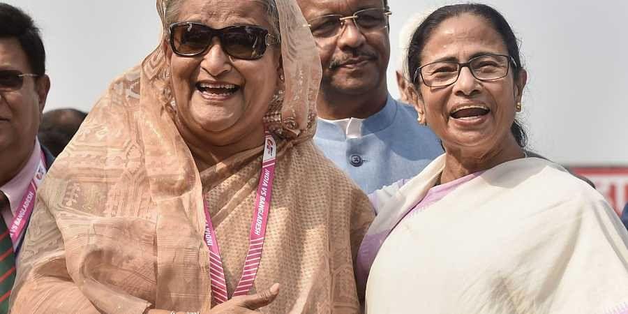 West Bengal Chief Minister Mamata Banerjee with Bangladesh PM Sheikh Hasina.