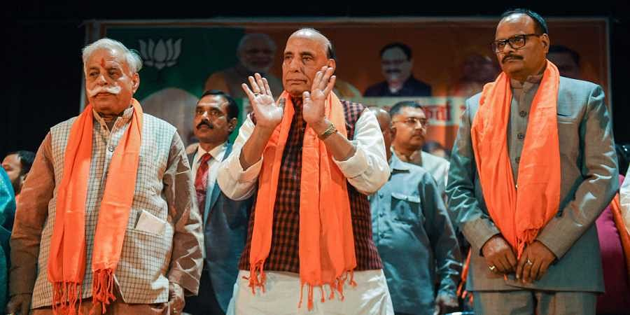 Union Defence Minister Rajnath Singh at party worker's meeting in Lucknow