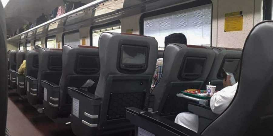 Inside the Tejas Express.