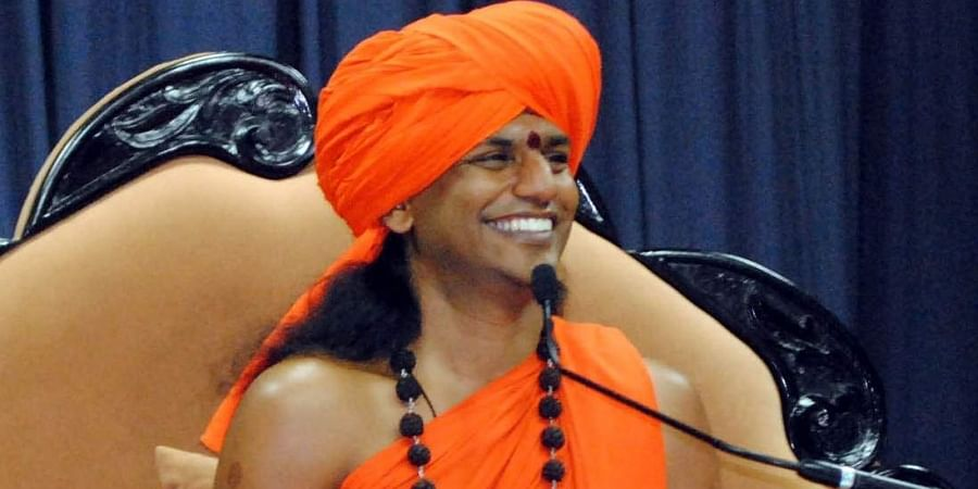 Swami Nithyananda at a press conference at Nithyananda Dhyanapeetam ashram, Bidadi near Bangalore.
