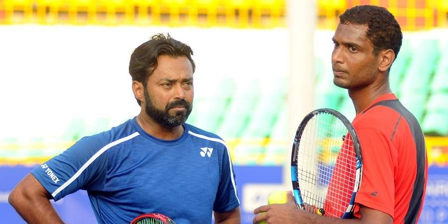 Indian tennis stars Leander Paes and Jeevan Nedunchezhiyan