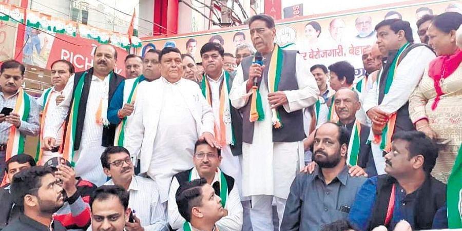 Delhi Congress chief Subhash Chopra addressing a rally on Saturday.