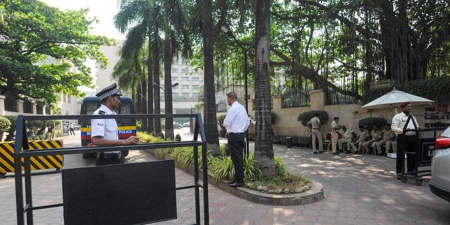 Security outside Lalit Hotel where Shiv Sena and NCP MLAs have been recently shifted in Andheri Mumbai.