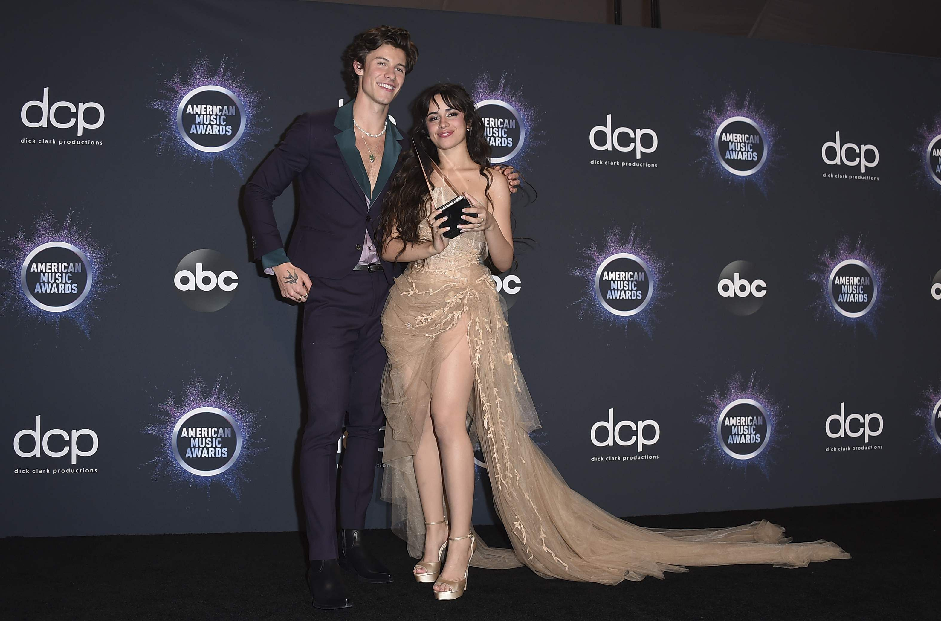 SHAWN MENDES & CAMILA CABELLO: Not only did the couple perform a steamy number of the hit pop song Senorita at the AMAs, but also won the 'Collaboration Of The Year Award' for the pop number.