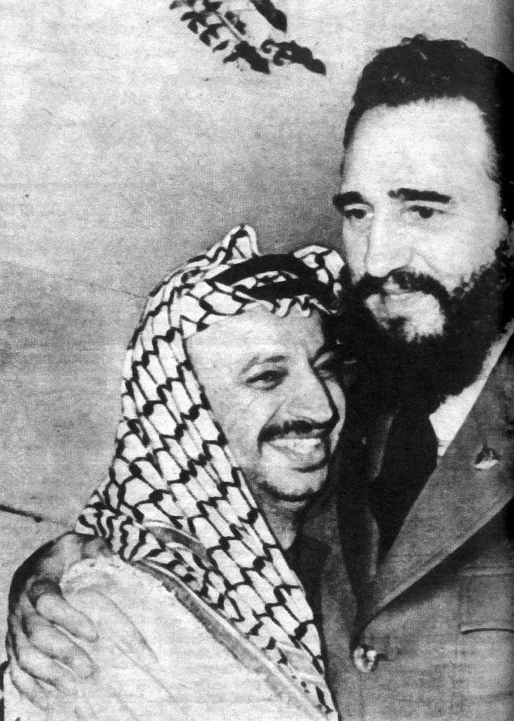 Picture taken in November 1974 in Havana of President Fidel Castro (R) and the Palestinian leader Yasser Arafat, during his visit to the island.
